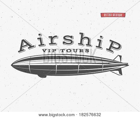 Vintage airship background. Retro Dirigible balloon vip tours label template. Steampunk design. Steam punk old sketching style. Use as badge, label for web design or tee design, t-shirt print.