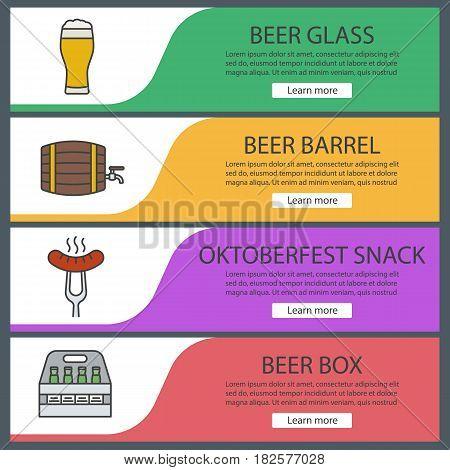 Beer banner templates set. Beer glass, barrel and box, sausage on fork. Website menu items. Color web banner. Vector headers design concepts