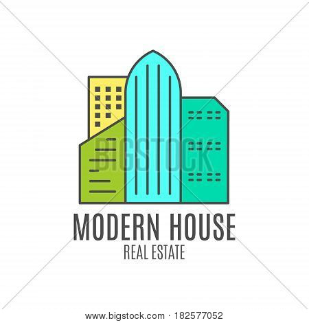 modern house logo design, real estate icon suitable for info graphics, websites and print media. , flat icon, badge, label, clip art. Lineart style. Thin line design. Stylysh palette.