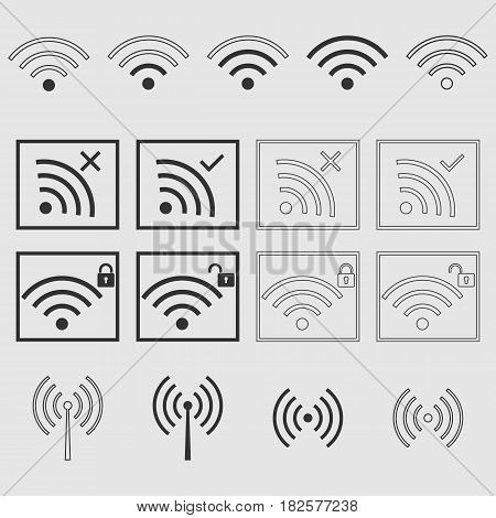 wifi signal icon set - vector eps