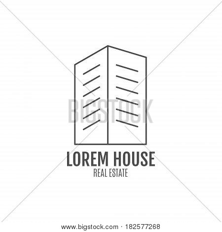 real estate logo design, modern house icon suitable for info graphics, websites and print media. , line icon, badge, label, clip art. Lineart style. Thin line design. Monochrome design.