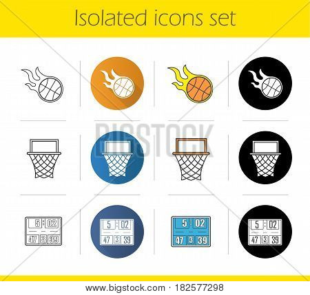 Basketball icons set. Flat design, linear, black and color styles. Burning ball, hoop, scoreboard. Isolated vector illustrations