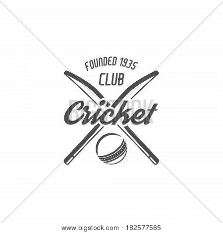 Cricket club emblem and design elements. Cricket team logo design. Cricket tournament badge. Sports symbols with cricket gear, equipment Use for web design, tee design or print on t-shirt. Monochrome
