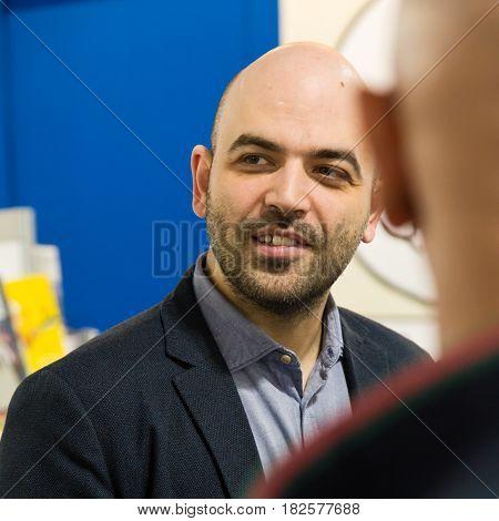 Writer Roberto Saviano At Tempo Di Libri In Milan, Italy