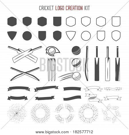 Cricket logo creation kit. Sports logo designs. Cricket icons set. Create your own emblem design fast. Sports symbols, elements - ball, bats, shapes, cricket gear, equipment for web or t-shirt.