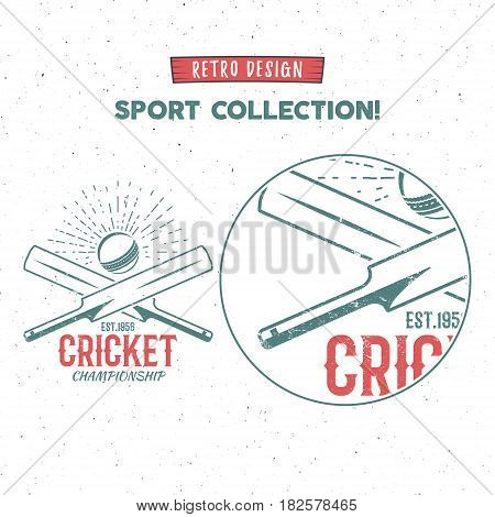 Retro cricket logo icon design. Vintage cricketer emblem design. Cricket badge. Sports tee design and symbols with cricket gear, equipment for web or t-shirt print.