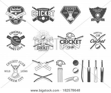 Set of cricket sports logo templates. Cricketer emblems and gear, equipment symbols. Sporting tee designs. Club, tournament badges, labels. Isolated on white. Use for web or t-shirt print.