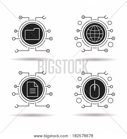 Cyber technology icons set. Cloud computing. Worldwide network, digital storage, web document, network access. Vector white silhouettes illustrations in black circles