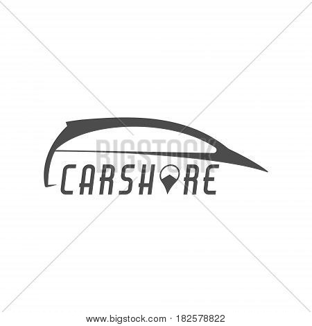 Car share logo design. Car Sharing concept. Collective usage of cars via web application. Carsharing icon, car rental element and symbol. Use for webdesign or print. Monochrome design.