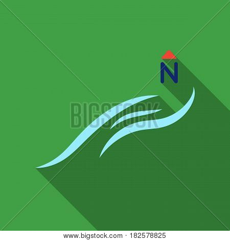 Northern wind icon in flate style isolated on white background. Weather symbol vector illustration.