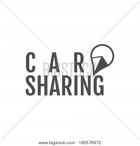 Car share logo design. Car Sharing or rental car concept. Use for webdesign or print. Monochrome design.