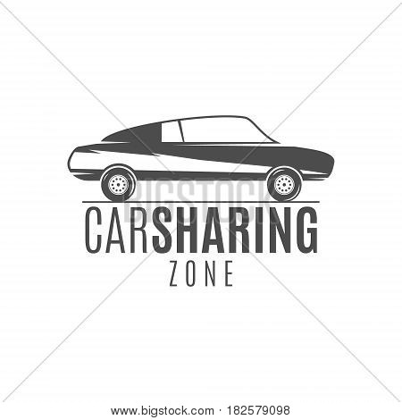 Car share logo design. Car Sharing concept. Collective usage of cars via web application. Carsharing icon, car rental element and car icon symbol. Use for webdesign or print. Monochrome design.