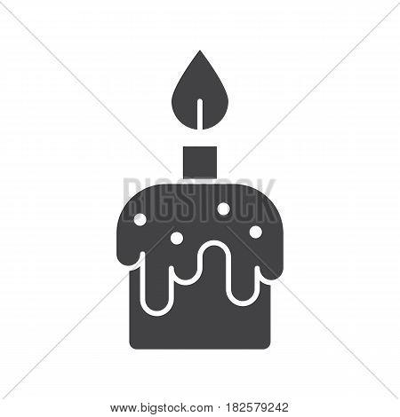Melting candle glyph icon. Silhouette symbol. Negative space. Vector isolated illustration