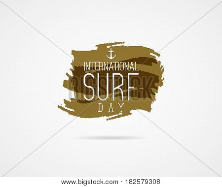 International surfing day graphic elements. surfing day typography emblem. Surfer party banner or sign on watercolor ink splash background. Use for sirfing day on Web or print on t shirt.