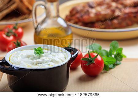 Traditional Tzatziki Sause On A Table