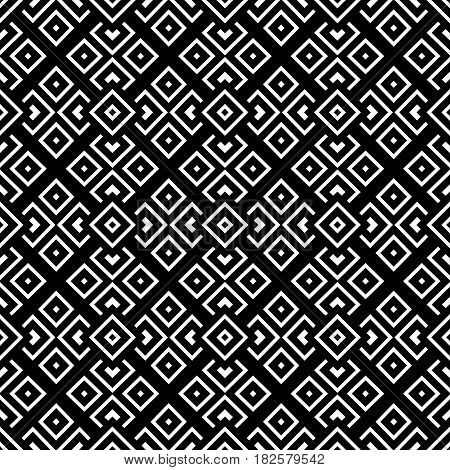 Geometrical pattern black and white color. Vector seamless pattern. Repeating geometric texture