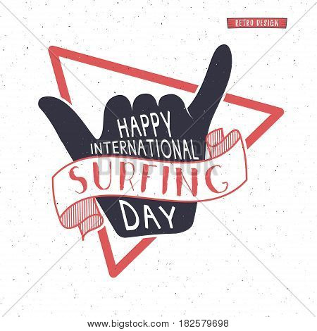 Summer surfing day tattoo design. surfing Vacation monochrome design typography print emblem. Surfer party with surf symbol - shaka sign. Best for web design or print on t-shirt. Retro design.