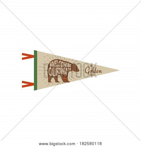Adventure pennant. California USA Pennant. Explorer flag design. Vintage template. Travel style pennant with bear symbol of califotnia. Summer tee design. Stylish t-shirt print design.