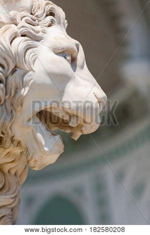 Summer. Vorontsov Palace. A statue of a lion. Crimea. Alupka.