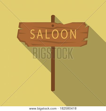Saloon icon flate. Singe western icon from the wild west flate.