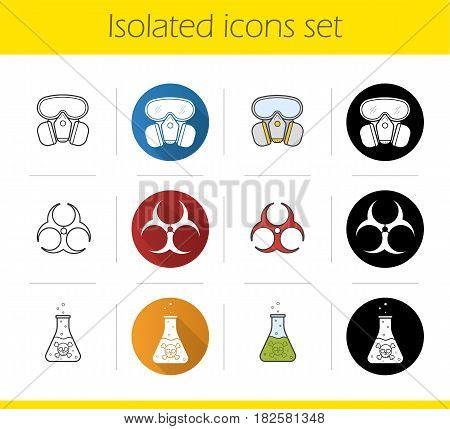 Chemical industry icons set. Flat design, linear, black and color styles. Gas mask, boiling poison liquid, biohazard danger symbol. Isolated vector illustrations