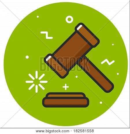Justice hummer. Judge gavel. Hand drawn stock illustration
