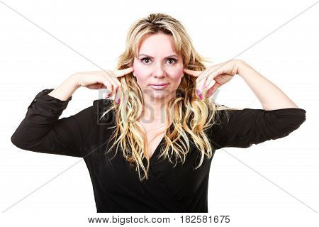 Blonde Woman Plug Ears