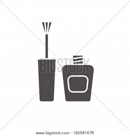 Nail polish glyph icon. Silhouette symbol. Nail varnish bottle with brush. Negative space. Vector isolated illustration