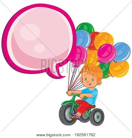 Vector illustration of small boy ride tricycle with balloons