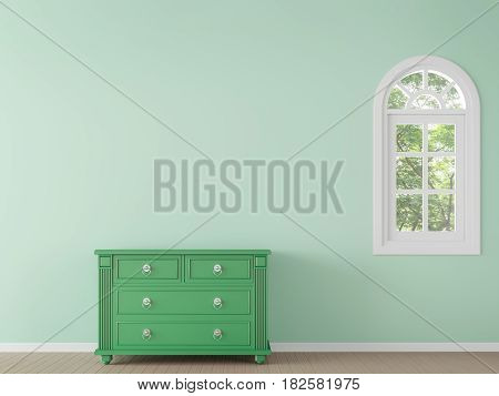Modern classic empty room with green color 3d rendering image.There are window overlooking the surrounding nature and forest