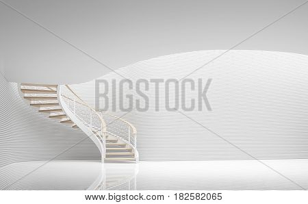 Empty white room modern space and spiral stair 3d rendering image.A blank wall with pure white. Decorate wall with horizon line pattern