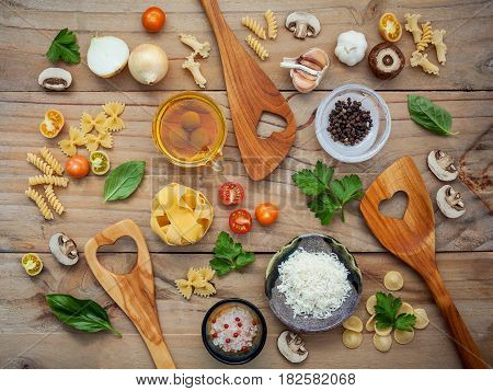 Italian Foods Concept And Menu Design.various Kind Of Pasta With Ingredients Sweet Basil ,tomato ,ga