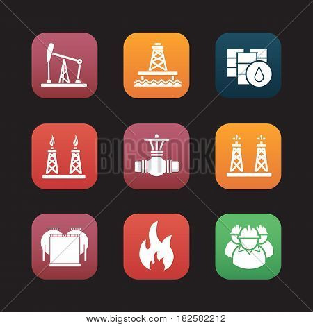 Oil industry flat design icons set. Pumpjack, barrels, pipe valve, gas and fuel production platforms, oil reservoir, flammable sign, industrial workers. Web application interface. Vector illustrations