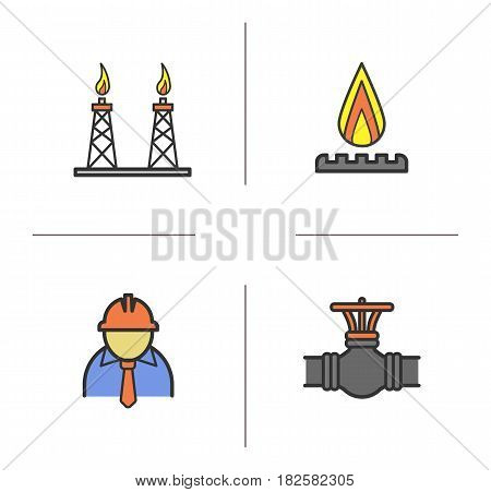 Industrial complex color icons set. Gas stove, pipeline valve, factory foreman, gas platform. Isolated vector illustrations