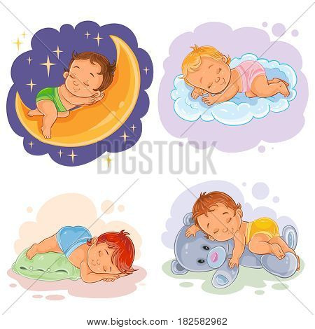 Set of clip art illustration babies sleep, isolated on white