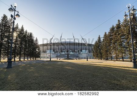 St. Petersburg, Russia - March 16, 2017: Stadium - St. Petersburg Arena, the venue of the 2018 FIFA World Cup
