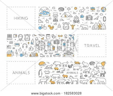 Vector line concept for hiking. Linear banner for travel. Modern background for animals.