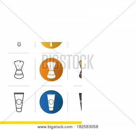 Shaving accessories icons set. Flat design, linear, black and color styles. Aftershave cream tube, razor, shaving brush. Isolated vector illustrations