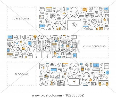 Vector line concept for cyber crime. Linear banner for blogging. Modern background for cloud computing.