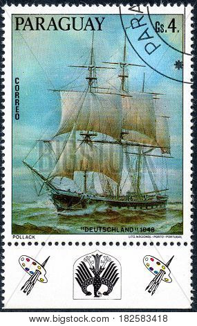 UKRAINE - CIRCA 2017: A postage stamp printed in Paraguay shows sailing ship Deutschland 1846 from the series German sailing ships circa 1976