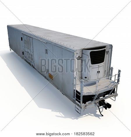 Railway carriage Refrigerator on white background. 3D illustration