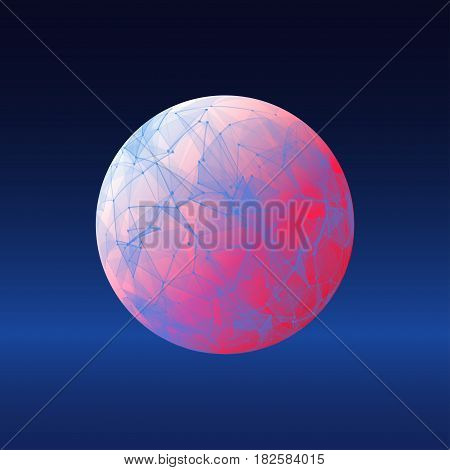 Vector dimensional wireframe low poly object, blue spherical shape with color grid.