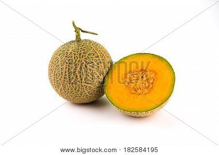 Fresh Organic A Half Of Orange Cantaloupe Melon