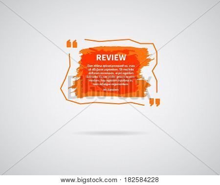Watercolor, ink, splash. Quote blank template. Quote bubble. Empty template. Circle business card template, paper sheet, information, text. Print multicolor design. Orange Quote form. Template vector