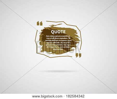 Watercolor, ink, splash Quote blank template. Quote bubble. Empty template. Circle business card template, paper sheet, information, text. Print multicolor design. Brown Quote form. Template vector.