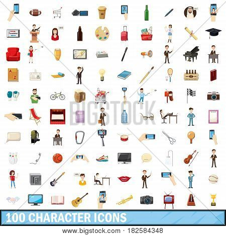 100 character icons set in cartoon style for any design vector illustration