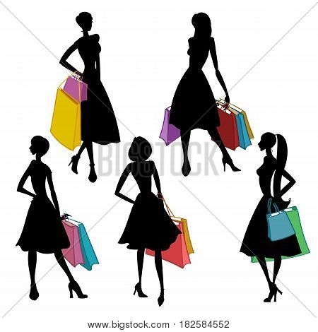 Silhouettes of women with shopping bags on white background. Shopper. Sales. Colorful vector illustration.