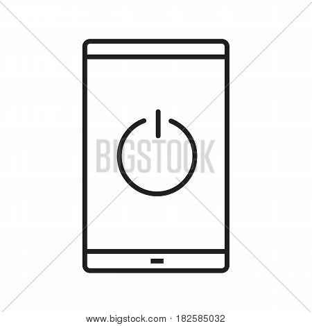 Turn off smartphone linear icon. Thin line illustration. Smart phone with switch off button contour symbol. Vector isolated outline drawing