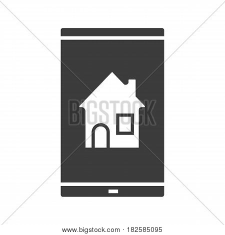 Smartphone home screen glyph icon. Silhouette symbol. Smart phone with house. Negative space. Vector isolated illustration