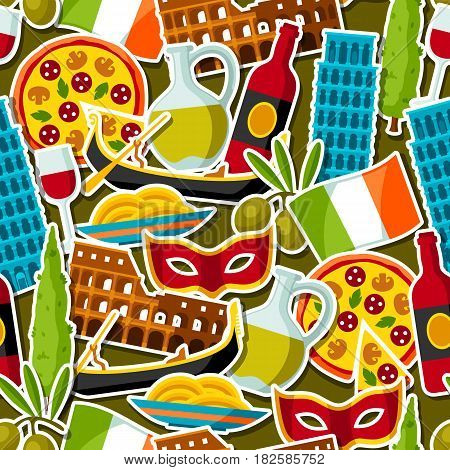 Italy seamless pattern. Italian sticker symbols and objects.